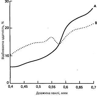 Спектральні відбивні здатності двох типів порід: червоного алевроліту і звітрілиго сірого вапняку