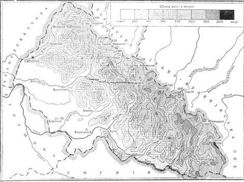 Гіпсометрична схема Закарпатської області