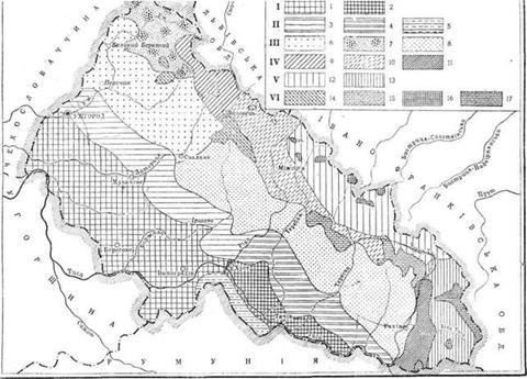 Схема геоботанічного районування Закарпатської області