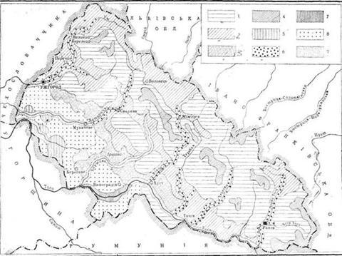 Схематична карта грунтів Закарпатської області