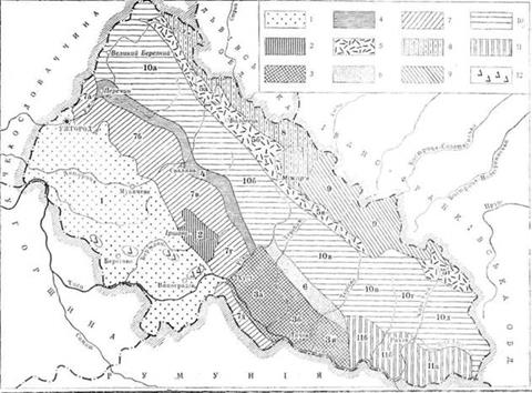 Схематична карта природних ландшафтів Закарпатської області