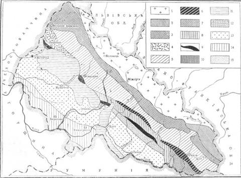 Тектонічна схема Закарпатської області