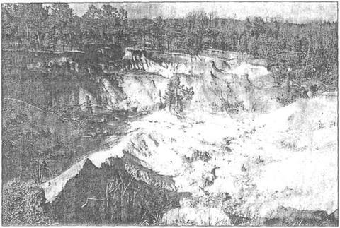 Зруйновані ерозією землі в західному Теннессі на південному сході США